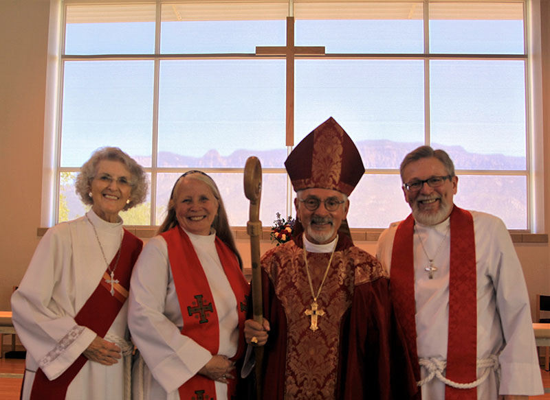 Deacon Jane Ross, Rev. Ruth Morgan, Bishop Michael Vono and Father Dan Tuton